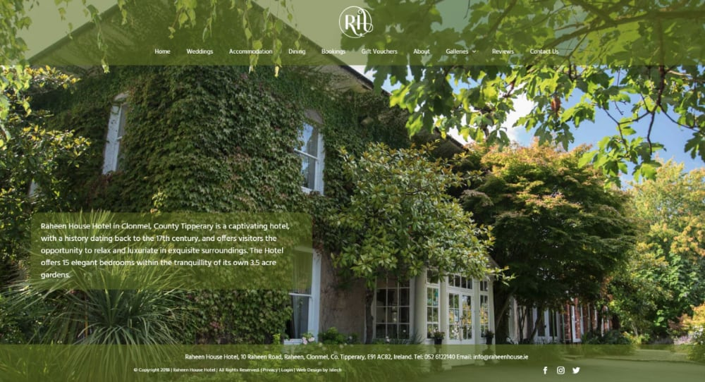 Raheen House Hotel - New Website Launched